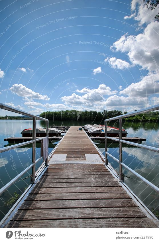Sky White Blue Summer Vacation & Travel Calm Clouds Relaxation Wood Lake Watercraft Footbridge Jetty Wooden board Handrail Parallel