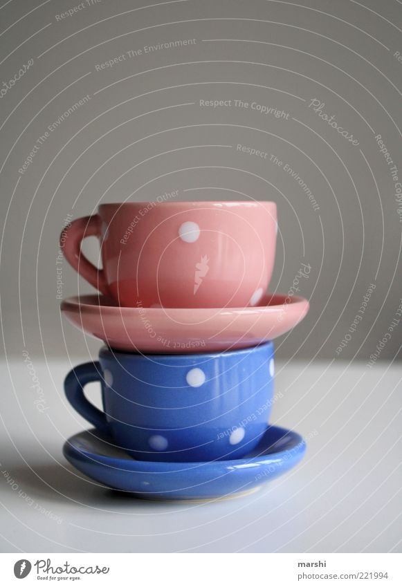 Service for the Date Beverage Hot drink Blue Pink Cup Stack Beautiful Crockery Small Porcelain Things Colour photo Interior shot 2 Spotted Light blue Coffee cup