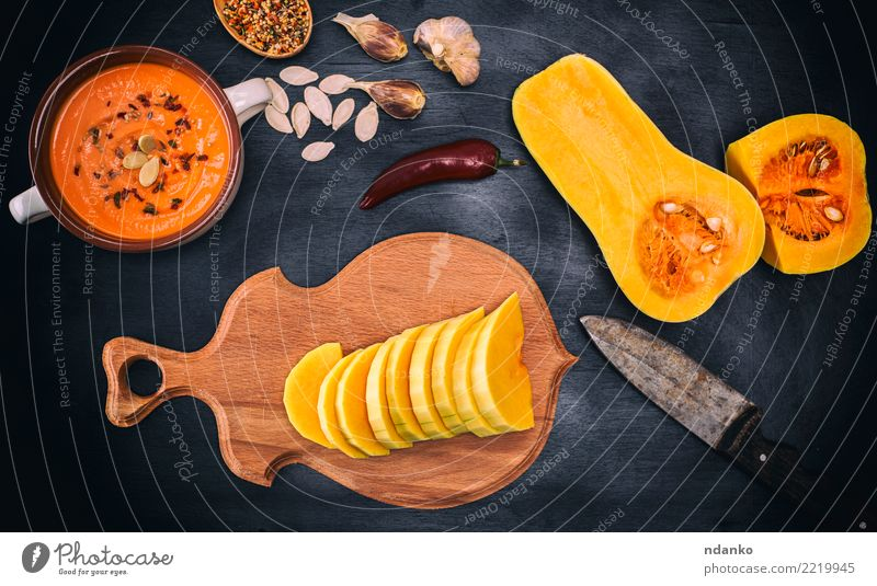 fresh pumpkin Vegetable Soup Stew Eating Dinner Organic produce Vegetarian diet Table Hallowe'en Nature Autumn Wood Fresh Above Yellow White Tradition Pumpkin