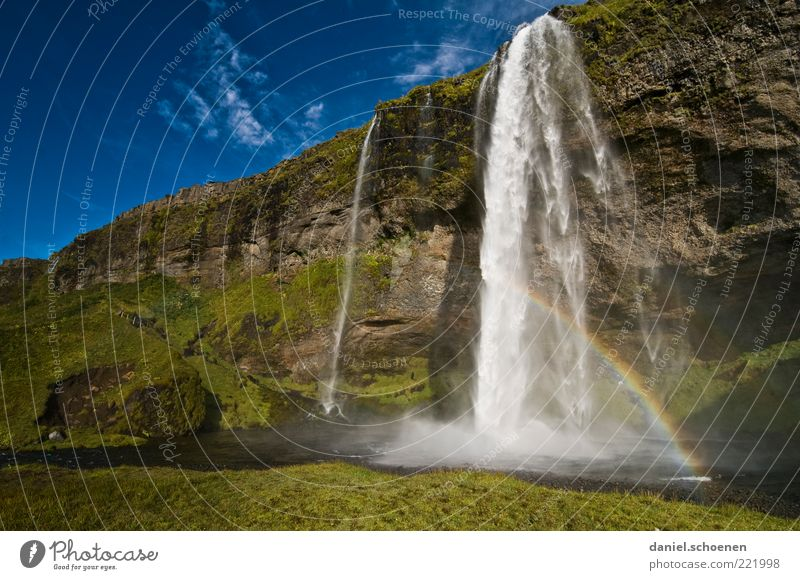 Mrs. Schiffner, look !! Vacation & Travel Environment Nature Landscape Water Waterfall Blue Green Iceland Rainbow Light Sunlight Natural Wall of rock River