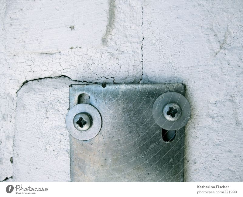 . ' Stone Concrete Metal Steel Silver White Wall (barrier) Crack & Rip & Tear Screw Bracket Wall (building) Structures and shapes Nut Cross-head screw Masonry