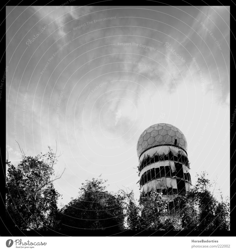 The Cold War Is Over Germany Outskirts Deserted Ruin Manmade structures Architecture Radar station bugging system Black & white photo Exterior shot Day Contrast