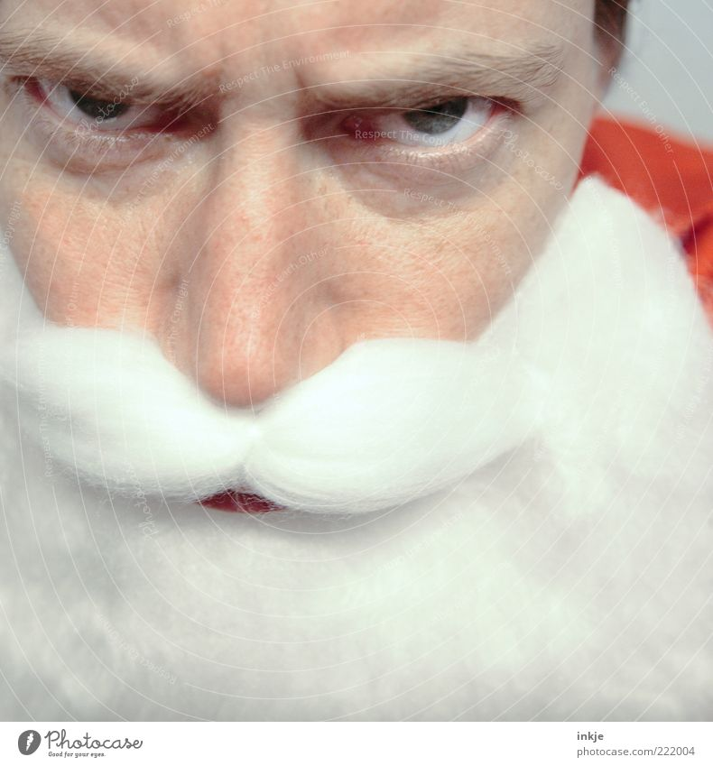Have you really always been good...? Feasts & Celebrations Parenting Infancy Life Face White-haired Facial hair Beard Santa Claus Anger Emotions Moody Mistrust
