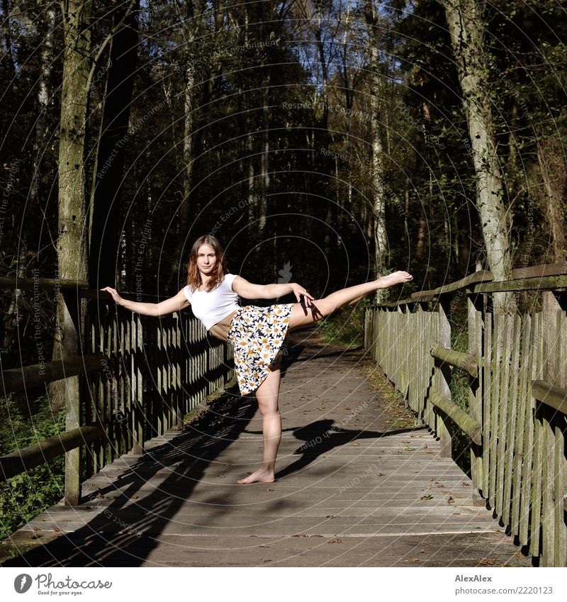 athletica Joy Beautiful Athletic Fitness Life Gymnastics Wooden bridge Young woman Youth (Young adults) Legs 18 - 30 years Adults Landscape Summer