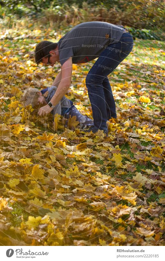 Man plays with child in autumn leaves Shallow depth of field blurriness Sunlight Day Copy Space left Exterior shot Colour photo Movement