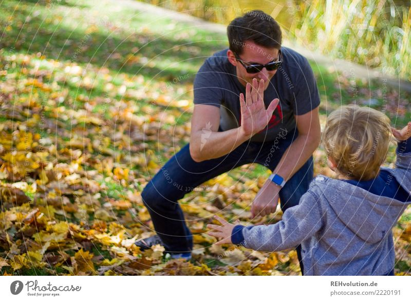 check Style Human being Child Boy (child) Man Adults Father Family & Relations 2 1 - 3 years Toddler 30 - 45 years Environment Nature Autumn Park Meadow
