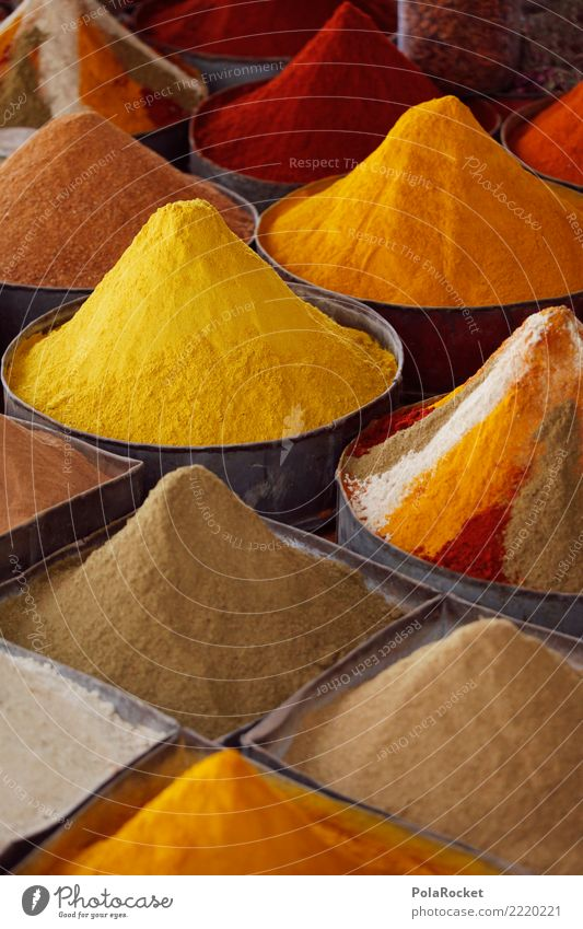 #A# Yellow curry Art Esthetic Tangy Curry powder Herbs and spices Spiced pepper Spice rack Spice store Spice stall Morocco Marrakesh Colour photo Multicoloured