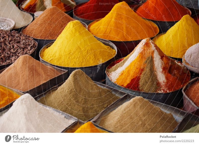 #A# Spice in Quer Art Esthetic Herbs and spices Spiced pepper Spice rack Spice store Pepper Curry powder Morocco Marrakesh bunked Yellow Colour photo