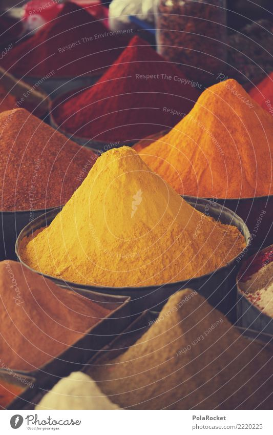 #A# Yellow-Orange Herbs and spices Nutrition Esthetic Spice store Curry powder Arabia Near and Middle East Many Selection Marrakesh Morocco Colour photo