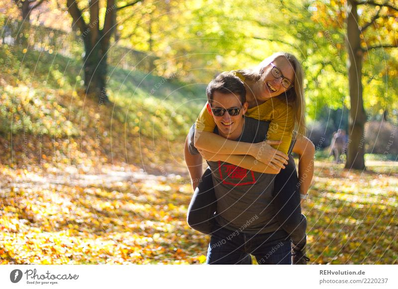 Woman Human being Nature Youth (Young adults) Man Tree 18 - 30 years Adults Environment Autumn Love Funny Laughter Couple Together Friendship