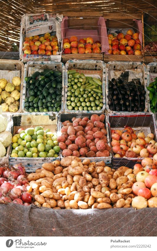#A# Selection Food Esthetic Markets Marketplace Offer Apple Potatoes Onion Cucumber Aubergine Pomegranate Morocco Marrakesh Colour photo Multicoloured