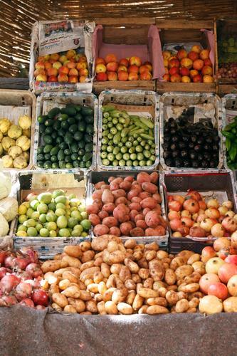 #A# Selection Food Esthetic Markets Marketplace Offer Apple Potatoes Onion Cucumber Aubergine Pomegranate Morocco Marrakesh Colour photo Multicoloured