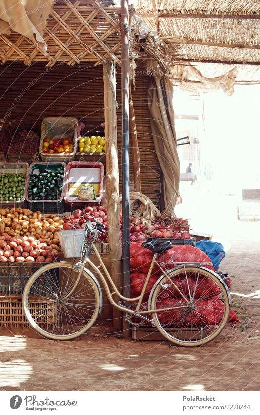 #A# Bicycle in Marrakech Food Esthetic Markets Marketplace Market day Potatoes Cucumber Versatile Sidestreet Alley Morocco Colour photo Multicoloured