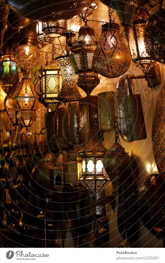 #A# Lamp shop Metal Kitsch Lamplight Lighting store Arabia Near and Middle East Morocco Colour photo Subdued colour Interior shot Detail Pattern Deserted