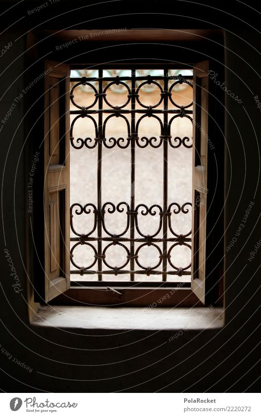 #A# Looking into the light Art Esthetic Window View from a window Window pane Arabia Near and Middle East Morocco Grating Colour photo Subdued colour