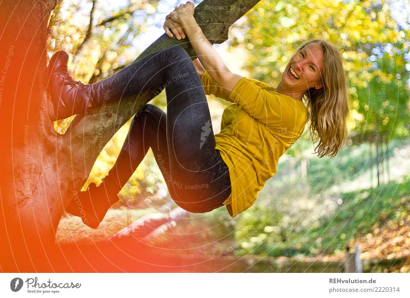 Woman Human being Nature Youth (Young adults) Young woman Green Tree Joy 18 - 30 years Adults Environment Autumn Funny Feminine Movement Sports