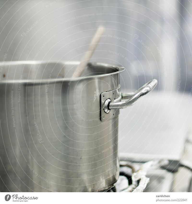 Something is brewing ;-) Stove & Oven Wooden spoon Blue Gray Pot Door handle Kitchen Gastronomy Steam Steel Clean Cooking Stir Colour photo Subdued colour