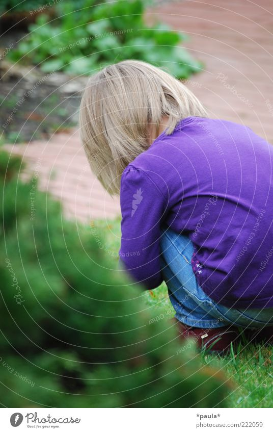 Playing alone... Toddler Girl Infancy Back 1 Human being 1 - 3 years Grass Bushes Garden Clothing Blonde Observe Discover Crouch Sadness Small Natural Green