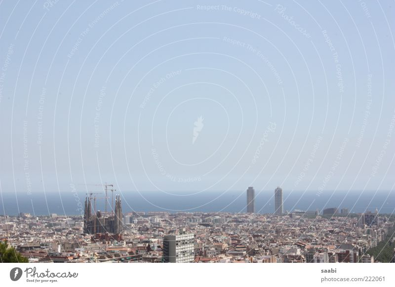 Barcelona Cloudless sky Ocean Populated Tourist Attraction Freedom La Sagrada Familia Colour photo Exterior shot Day Panorama (View) Town Sightseeing