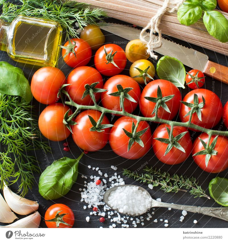 Italian cooking ingridients Green Red Leaf Dark Bright Fresh Table Herbs and spices Vegetable Bottle Meal Diet Vegetarian diet Tomato Spoon Rustic