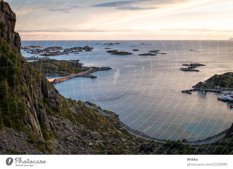 Henningsvær, Lofoten, evening mood, panorama, northern sea Senses Calm Meditation Vacation & Travel Trip Adventure Far-off places Climbing Mountaineering