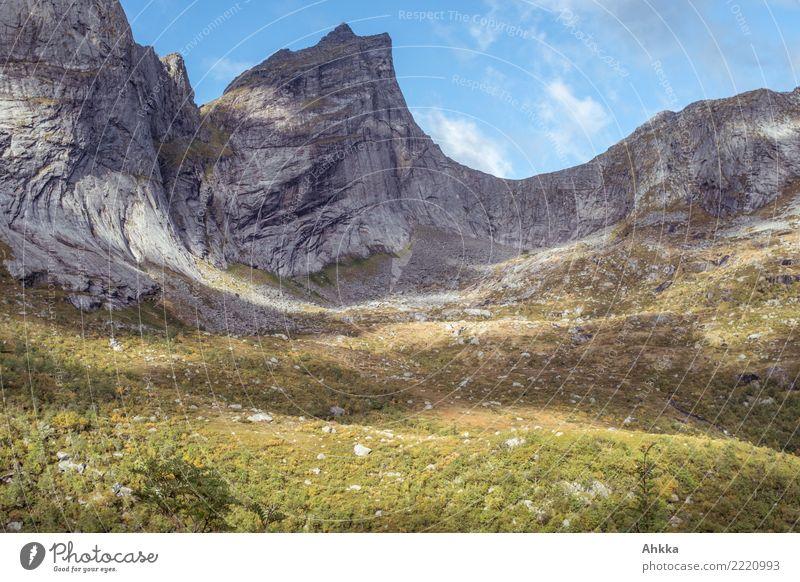 Massive rock slope with light show, Lofoten Calm Meditation Adventure Nature Sky Sunlight Rock Peak Lofotes Illuminate Fantastic Gigantic Wild Uniqueness