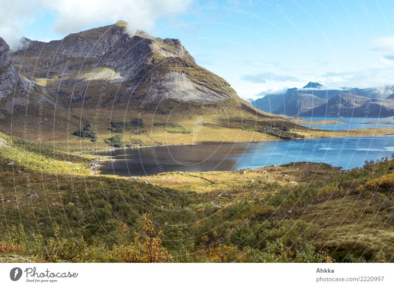 Fjord in the play of light and shadow, mountain massif, autumn, Lofoten Calm Meditation Vacation & Travel Trip Adventure Far-off places Freedom Nature Landscape