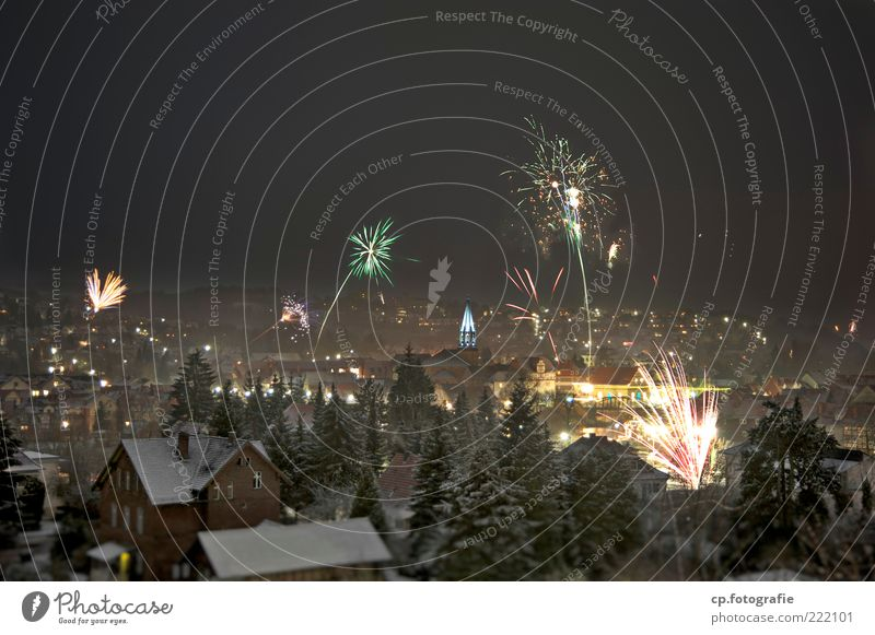 The hundredth!!! Luxury Night life New Year's Eve Winter Beautiful weather Ice Frost Snow Tree Small Town Downtown House (Residential Structure) Church