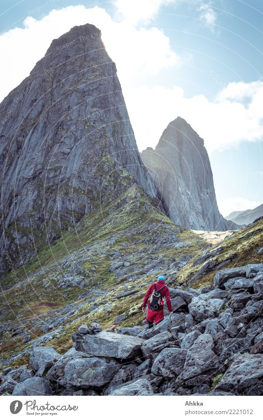 Hikers on a scree slope, mighty peaks, Lofoten Vacation & Travel Young man Youth (Young adults) Elements Sky Rock Peak Norway Stone Fantastic Gigantic Large