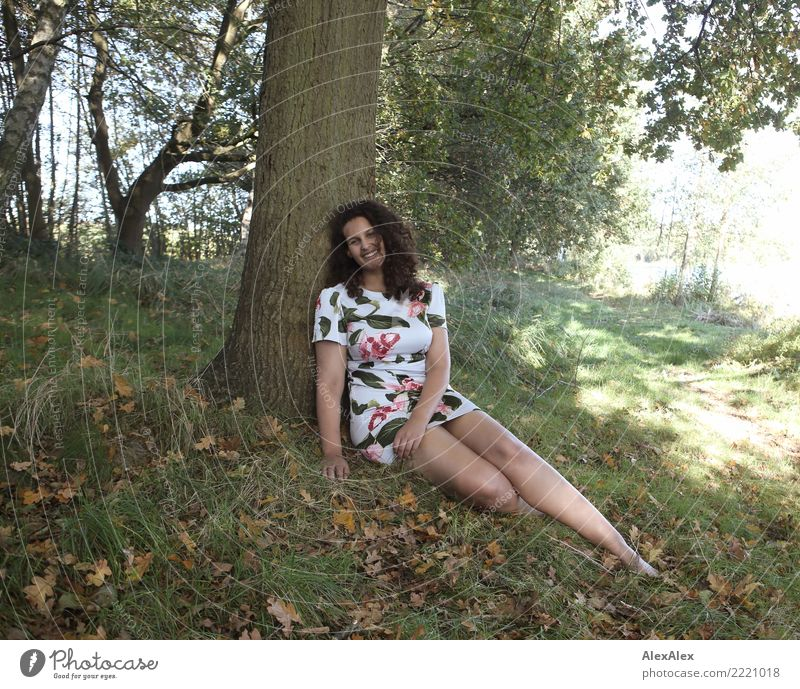 At the lake with flora Joy Beautiful Life Harmonious Trip Young woman Youth (Young adults) Legs 18 - 30 years Adults Nature Beautiful weather Tree Forest