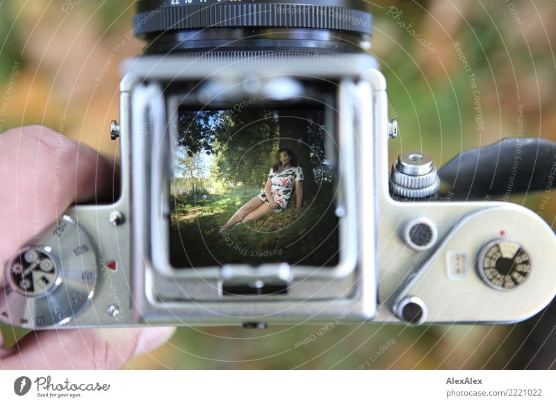 Picture in picture Technology Beautiful Trip Camera Medium format Lightshaft Young woman Youth (Young adults) 18 - 30 years Adults Landscape Summer