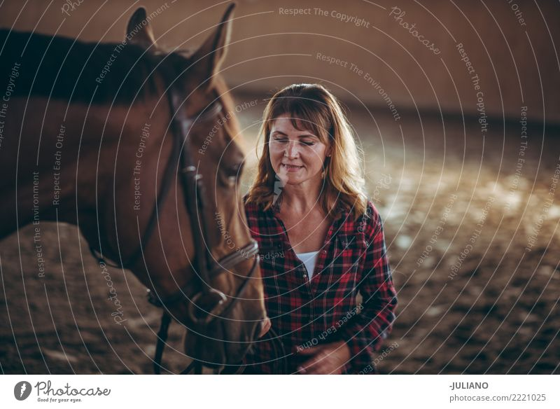 Mature woman is practising with her horse Woman Human being Vacation & Travel Animal Adults Life Lifestyle Feminine Authentic Adventure Female senior Mother