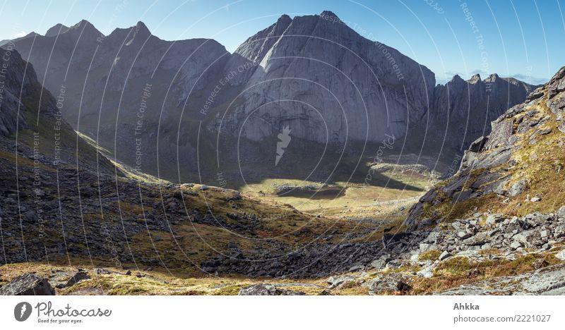 Horseidvika, Lofoten, mountain landscape, valley, summit, sunlight Adventure Landscape Climate Bad weather Mountain Canyon Lofotes Illuminate Fantastic Gigantic