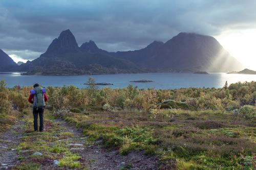 Lofoten Dreams Calm Vacation & Travel Adventure Far-off places Freedom Hiking Young man Youth (Young adults) Sun Winter Peak Fjord Lofotes Anticipation Brave