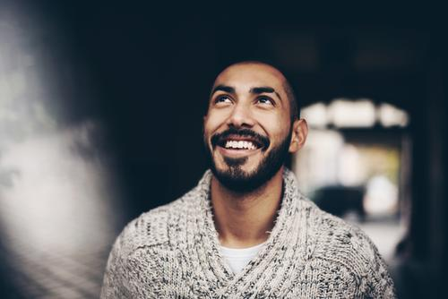 Urban young man (30) Lifestyle Style Masculine Young man Youth (Young adults) Man Adults 1 Human being 18 - 30 years Fashion Town Wool sweater Facial hair