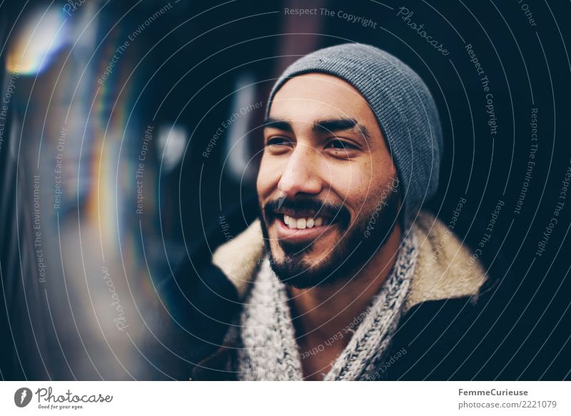 Human being Youth (Young adults) Man Town Young man 18 - 30 years Adults Lifestyle Style Laughter Fashion City life Masculine Modern Smiling Facial hair