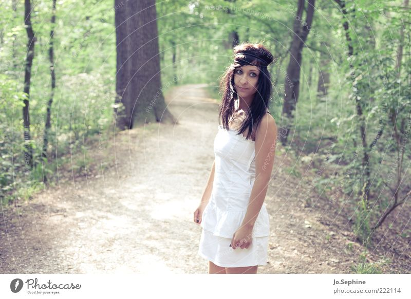 Human being Nature Youth (Young adults) Green White Summer Forest Adults Young woman Feminine 18 - 30 years Brown Wait Stand Dress Footpath