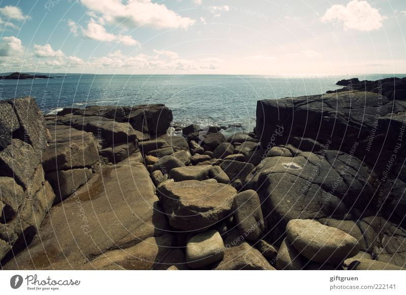 an ocean and a rock is nothing to me Environment Nature Landscape Elements Water Sky Clouds Horizon Weather Beautiful weather Rock Coast Beach Ocean Island