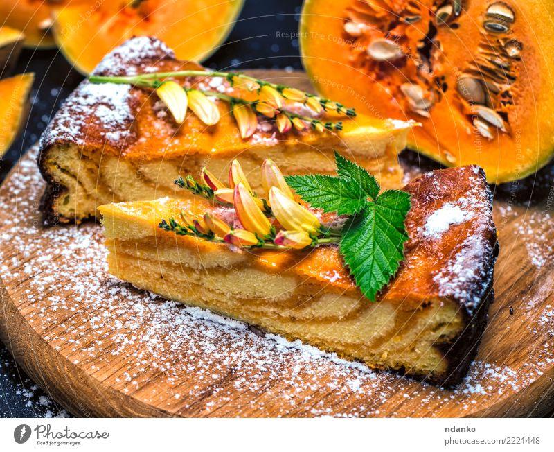 pieces of pumpkin pie Vegetable Cake Dessert Thanksgiving Hallowe'en Wood Eating Fresh Delicious Natural Orange Tradition Pumpkin Pie Home-made Meal Baked goods