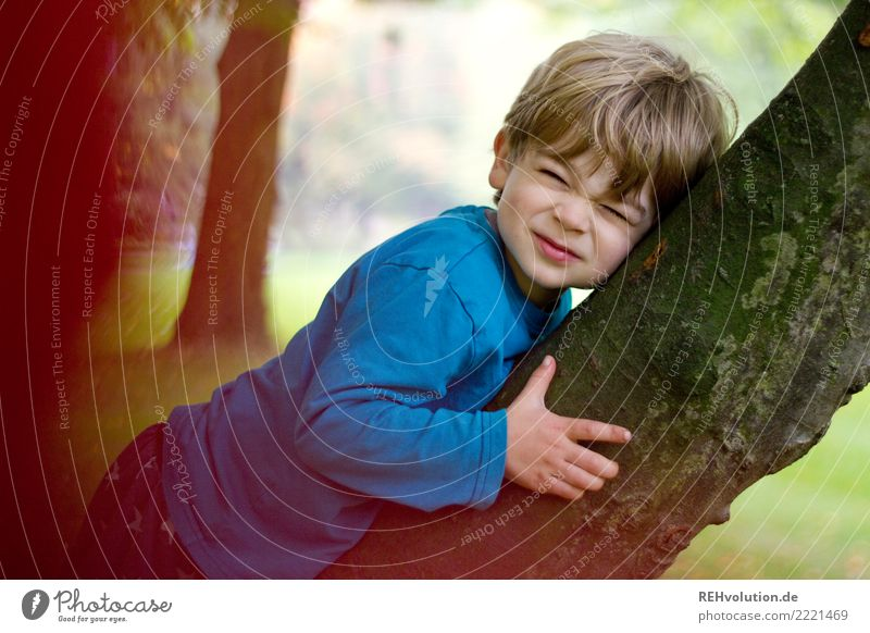 crumple face Human being Child Toddler Boy (child) Infancy 1 1 - 3 years Environment Nature Plant Tree Park Hair and hairstyles Blonde Lie Authentic Brash