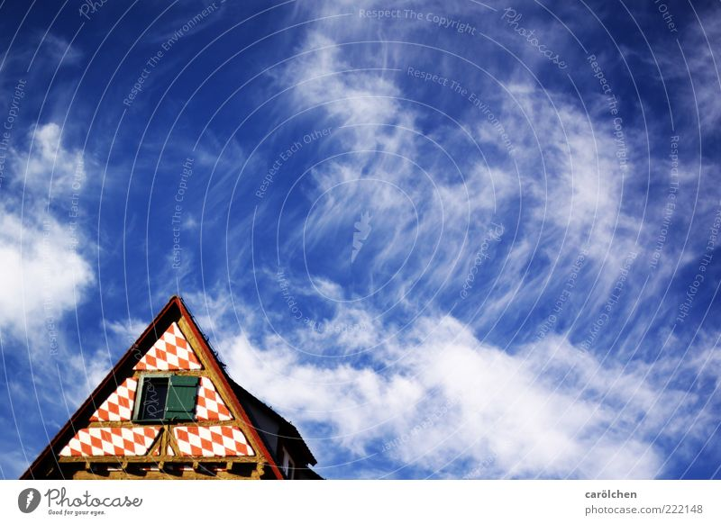 Old Sky Blue Red Clouds Roof Point Beautiful weather Old town Shutter Gable Half-timbered facade Clouds in the sky Ulm Half-timbered house