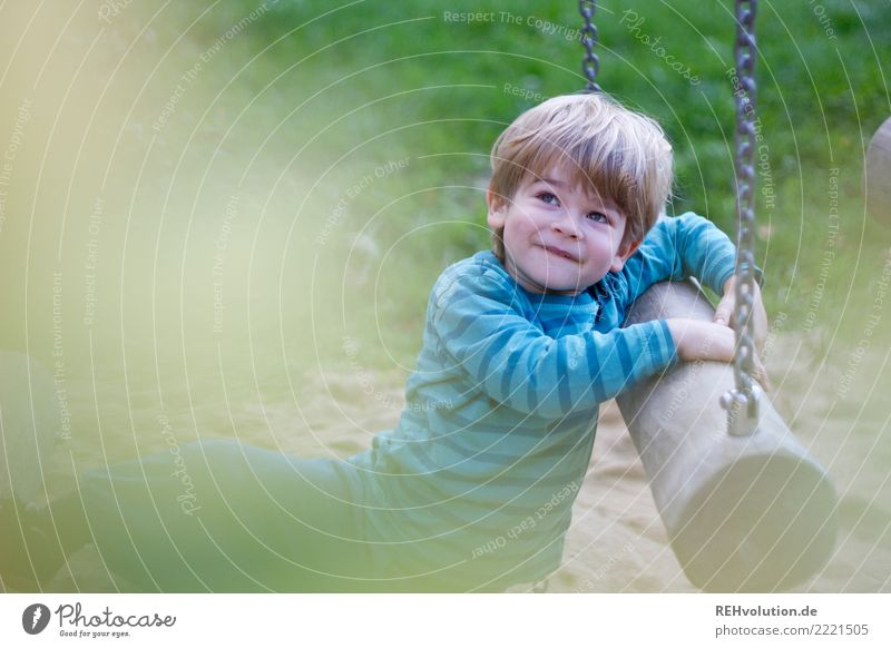 Child on the playground Leisure and hobbies Playing Human being Toddler Boy (child) 1 3 - 8 years Infancy Environment Nature Meadow Playground Blonde Movement