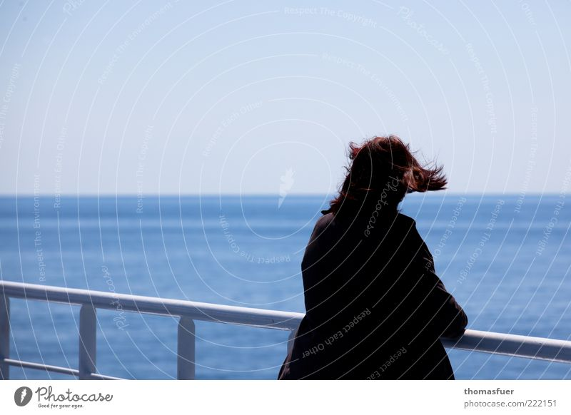 Human being Woman Blue Vacation & Travel Summer Ocean Loneliness Adults Far-off places Freedom Hair and hairstyles Sadness Dream Horizon Wind Stand