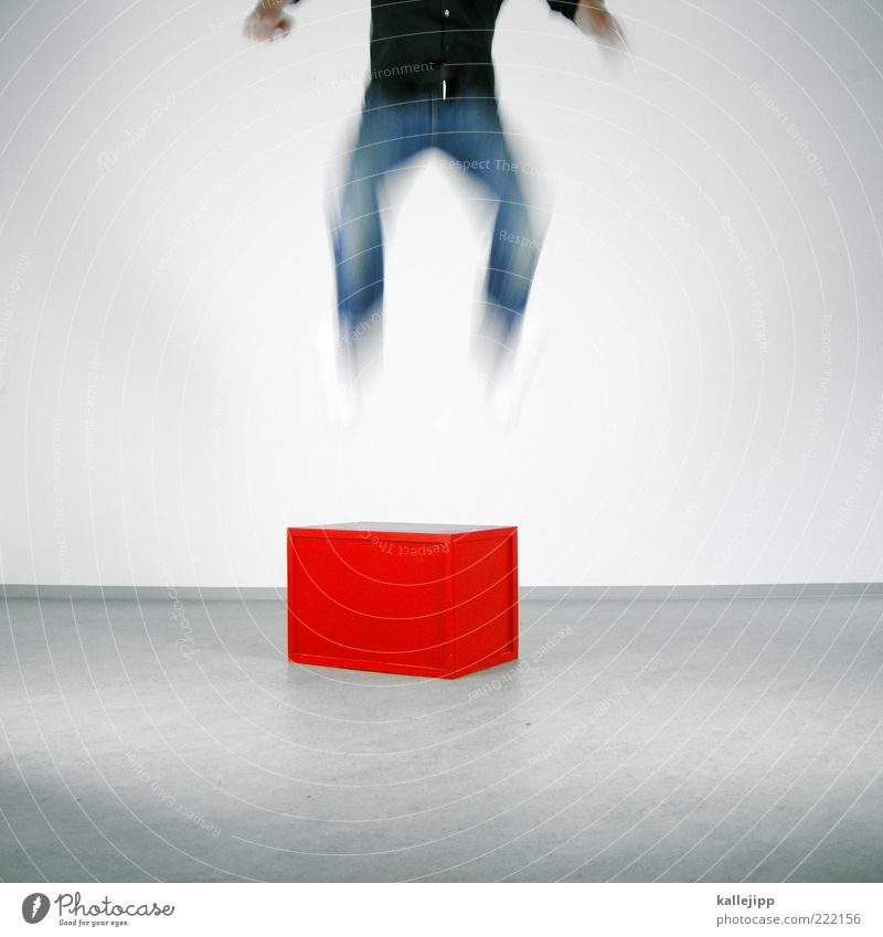 jump devil Sports Work and employment Career Success Masculine Man Adults Legs Feet 1 Human being Shirt Jeans Jump Red Joy Happy Happiness