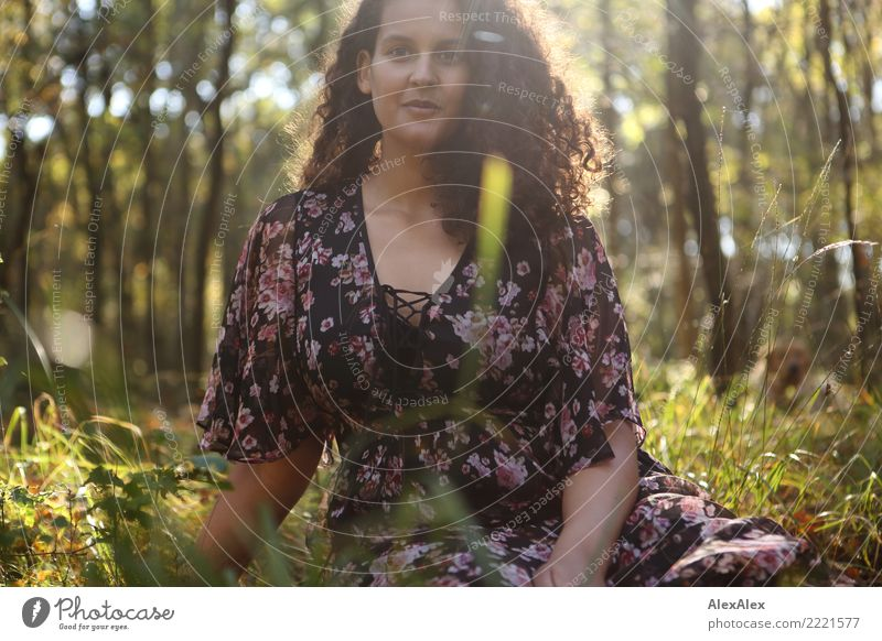 Flora on the clearing II Beautiful Wellness Well-being Young woman Youth (Young adults) 18 - 30 years Adults Nature Summer Autumn Grass Clearing Dress Brunette