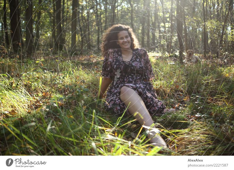 Flora in the clearing Beautiful Life Senses Young woman Youth (Young adults) 18 - 30 years Adults Nature Summer Autumn Forest Clearing Dress Brunette