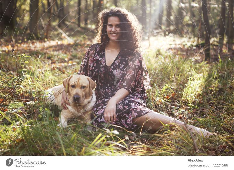 Nature Youth (Young adults) Young woman Beautiful Relaxation Forest 18 - 30 years Adults Natural Feminine Grass Happy Together Trip Esthetic Idyll