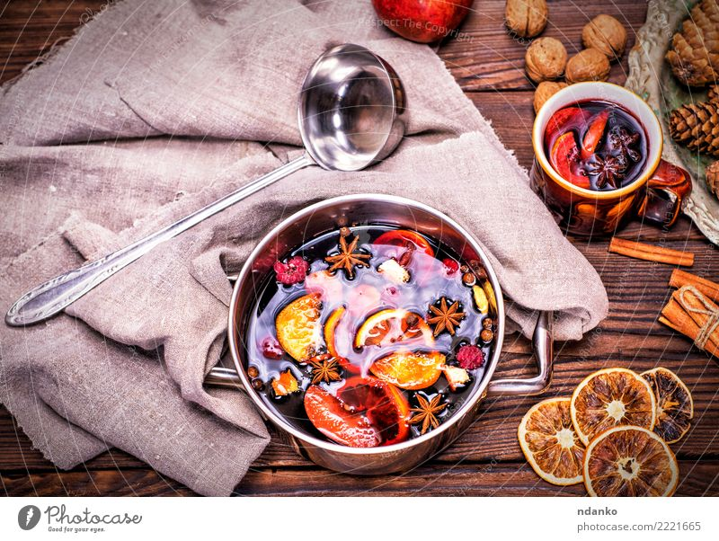 mulled wine in a saucepan Christmas & Advent Red Winter Dish Wood Feasts & Celebrations Above Table Herbs and spices Beverage Hot Tradition Cooking