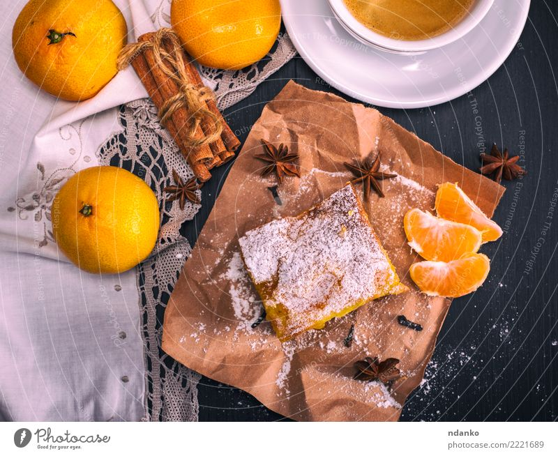 tangerine pie And cup of coffee Fruit Dessert Nutrition Breakfast Beverage Hot drink Coffee Mug Table Wood Eating Fresh Delicious Natural Brown Yellow Black