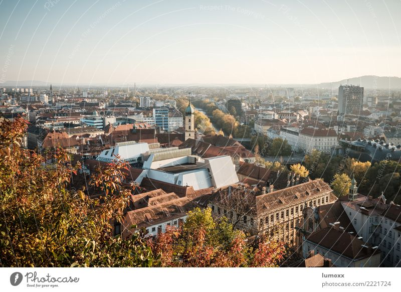 View over the roofs of Graz Environment Nature Autumn Brown Yellow Gold Mountain castle Austria art house Leaf Town Downtown World heritage Roof Colour photo